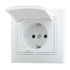 Розетка с/з с крышкой керамика белый с бел. вст. 701-0202-123   НЗ