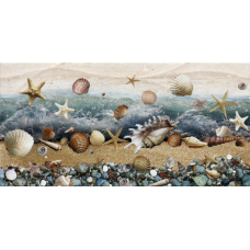 Ривьера 249х500 на белом коричневая ВС9РВ004 (камни + ракушки) Декор