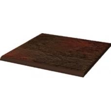 Semir Brown 30х30х1,1 Клинкер Ступень простая структурная  рифленая