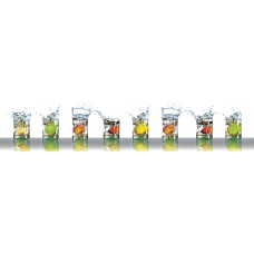 "Интерьерная панель АБС ""Гурман"" №6 Фрукты в бокалах (3000х600х1,5мм) глянец"